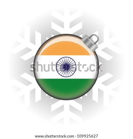 EPS10 Vector illustration of the Indian flag in a bauble with snowflake in background