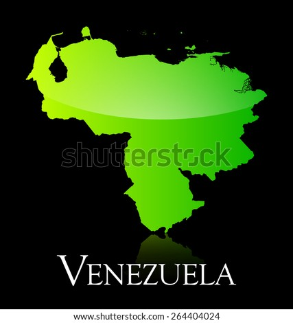 EPS 10 Vector illustration of Venezuela green shiny map. Used transparency.  - stock vector