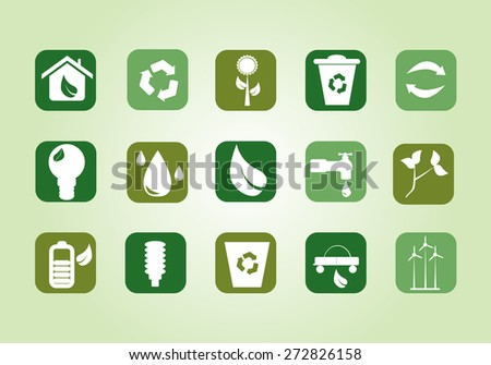 Eps8 vector illustration of white green ecological buttons represent biodegradable recyclables materials for ecology projects website isolated light background wall No transparencies Gradients applied - stock vector