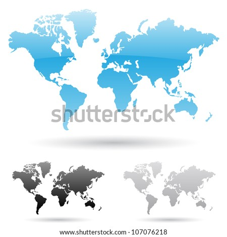 eps vector illustration of world map in 3 different colors - stock vector
