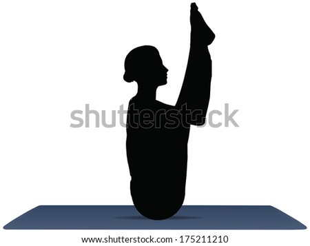 EPS 10 vector illustration of Yoga positions in Seated Forward Bend pose - stock vector