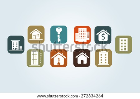 Eps 8 vector illustration set of blue green yellow orange brown real estate pictogram buttons symbols icons sign for web site applications isolated on light background wall No transparencies applied - stock vector