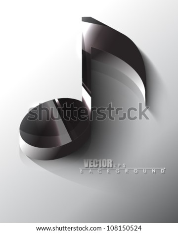 eps10 vector isolated chrome music note icon design - stock vector