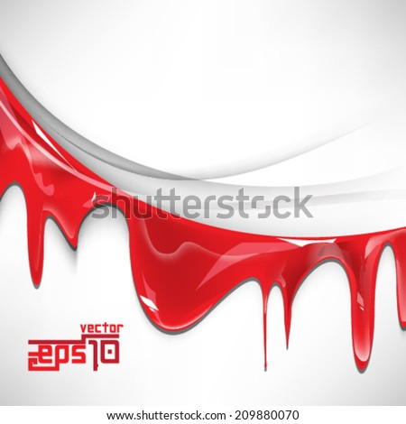 eps10 vector isolated red ink flowing background - stock vector