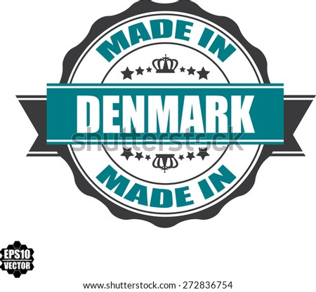 EPS10 Vector : Made In Denmark Grunge Rubber Stamp with Star And Ribbon. (Sticker, Tag, Icon, Symbol)  - stock vector