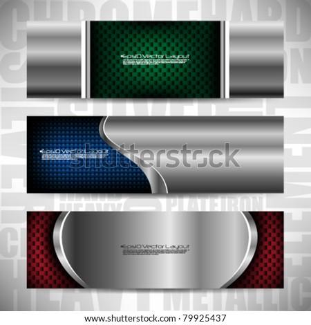 eps10 vector metallic banners - stock vector