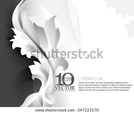 eps10 vector metallic chrome silhouette plant foliage elegant background design - stock vector