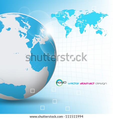 eps10 vector modern detailed globe and map background design - stock vector