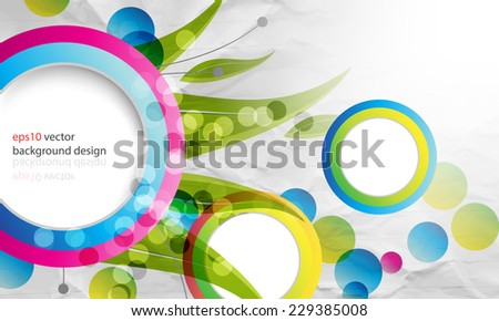eps10 vector multicolor overlapping round frames cartoon concept background - stock vector