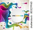 eps10  vector multicolor splat and a frame - stock photo