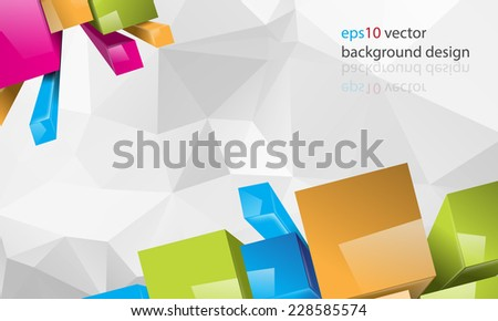 eps10 vector multicolor thee-dimensional squares and triangular business background - stock vector