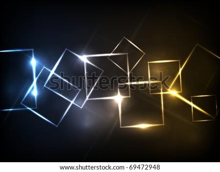 EPS10 vector neon squares design - stock vector