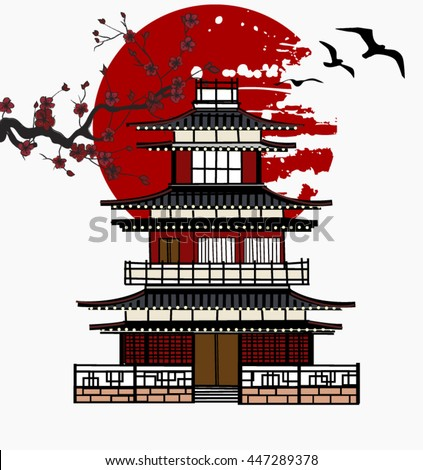 EPS10 vector - Oriental castle and sakura branch - stock vector