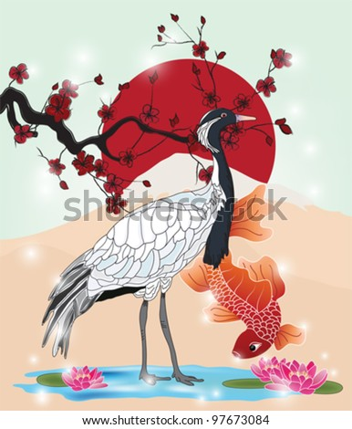 EPS 10 vector - oriental picture with crane and carp - stock vector