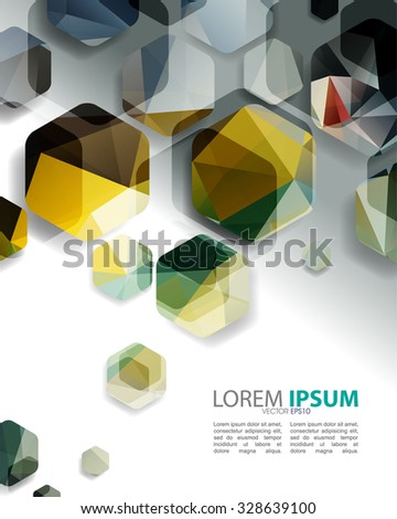 eps10 vector overlapping hexagon geometric shape elements design - stock vector