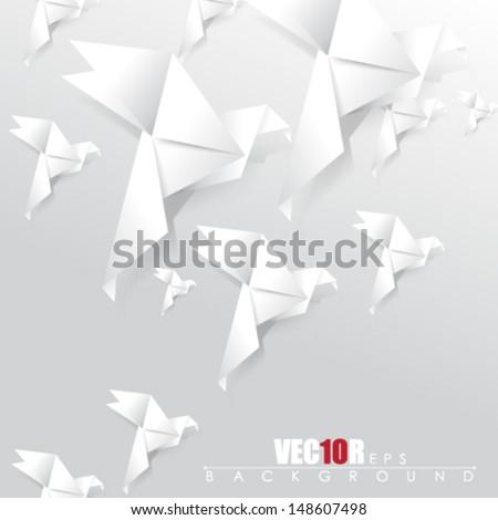 eps10 vector overlapping origami birds design - stock vector