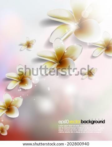 eps10 vector overlapping realistic flowers on colorful background
