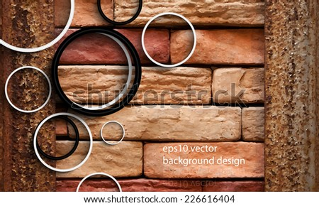 eps10 vector photo realistic brick wall background - stock vector