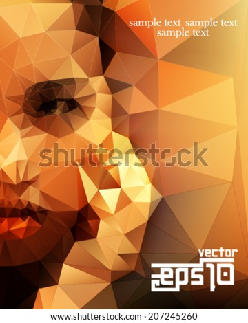 eps10 vector polygon shape half face woman background - stock vector
