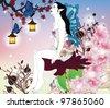 EPS 10 vector - portrait of a fairy in an enchanted garden - stock photo