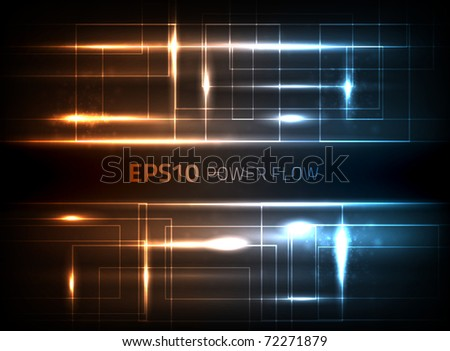 EPS10 vector power flow design against dark background - stock vector