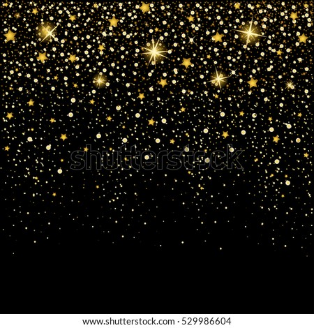 eps 10 vector premium golden glitter background. Shiny falling stars luxury calendar cover, banner, poster, brochure,leaflet,booklet,magazine cover, greeting card, wallpaper template for web and print
