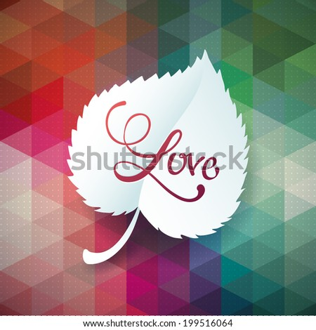 eps10 vector rainbow triangle polygonal leaves modern design. Geometric pattern with oak and tree leaves - stock vector