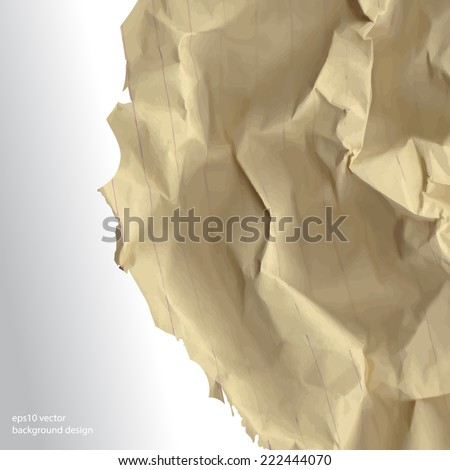 eps10 vector realistic crumpled paper concept background - stock vector
