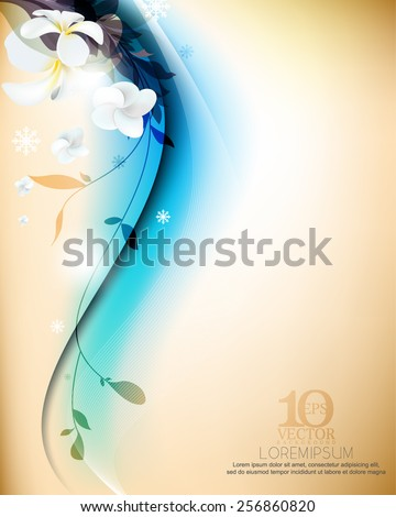 eps10 vector realistic elegant flowers and silhouette plants in plain smooth background design - stock vector