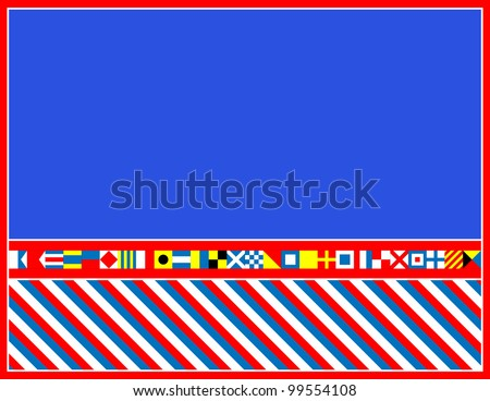 EPS8 Vector red, white and blue nautical flags border or frame. - stock vector