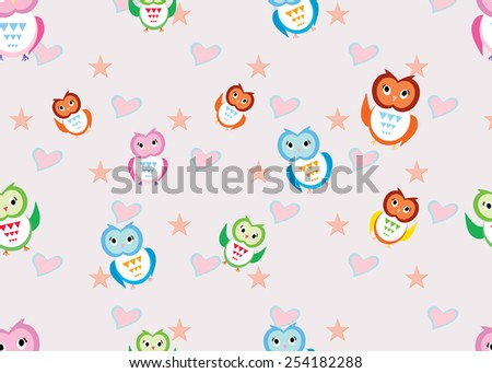 Eps 10 vector. Seamless  colorful owl pattern for kids. Modern stylish cute texture.  Cute owls vector seamless pattern. Funny colorful wallpaper ornament. Summer nature, animals, birds illustration. - stock vector