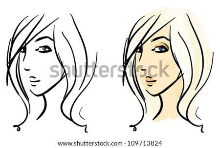 Eps 10 vector sketches set. Beautiful girl's face in two variants, monochrome strokes and colorful filling