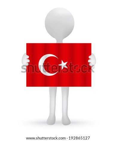 EPS Vector 10 - small 3d man hands holding a Turkish flag