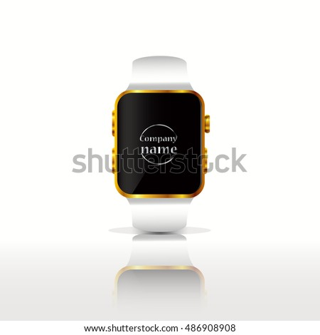eps 10 vector smart watch isolated on gray background. Add your company nam or logo