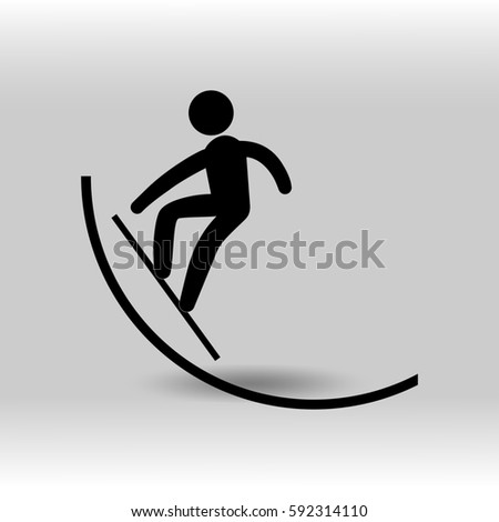 eps 10 vector Snowboard halfpipe sport icon. Winter sport activity pictogram for web, print, mobile. Black athlete sign isolated on gray. Hand drawn competition symbol. Graphic design clip art element
