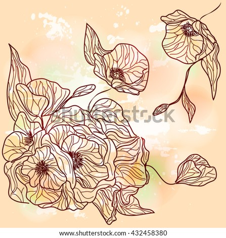 Eps10 vector - Summer poppies design - stock vector