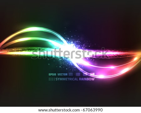 EPS10 vector symmetrical rainbow design against dark background; composition has bright lights and particles