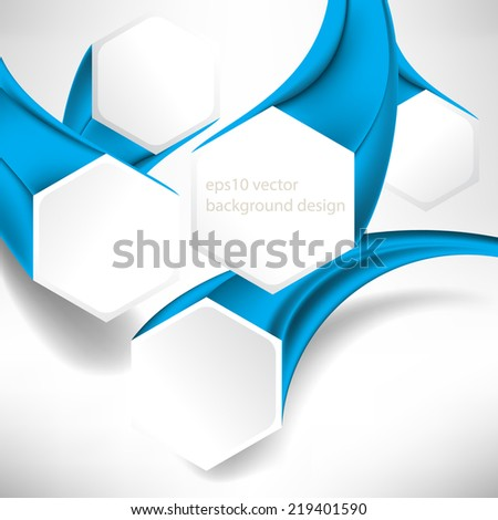 eps10 vector three-dimensional hexagon frame business background - stock vector