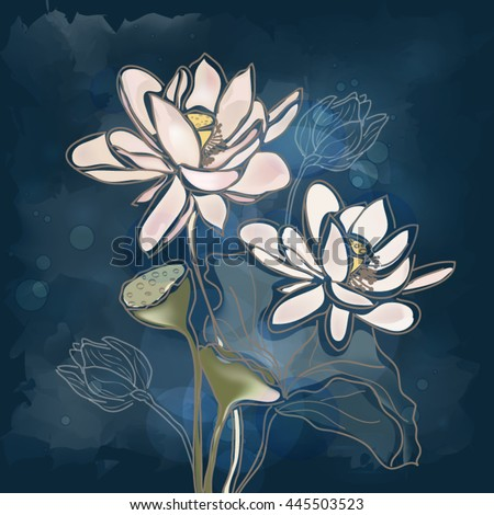 Eps10 vector - Water lilies on a blue background