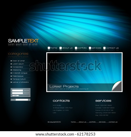 EPS10 Vector Website Design Template - stock vector