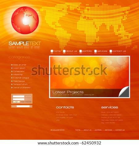 EPS10 Vector Website Design Template - stock vector