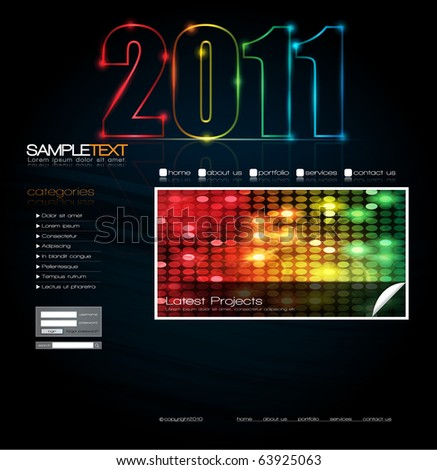 EPS10 Vector Website Design Template with 2011 Message - stock vector