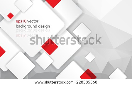 eps10 vector white and red squares overlapping geometric elements elegant business background - stock vector