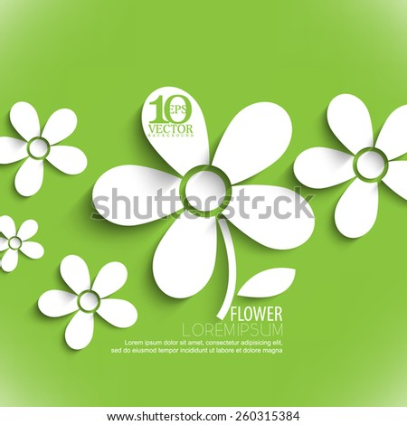 eps10 vector white paper flower elements background - stock vector
