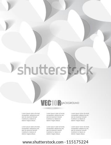 eps10 vector white paper hearts background design - stock vector
