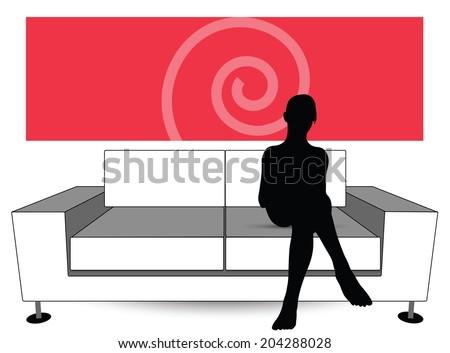 EPS Vector 10 - woman silhouette on sofa - stock vector