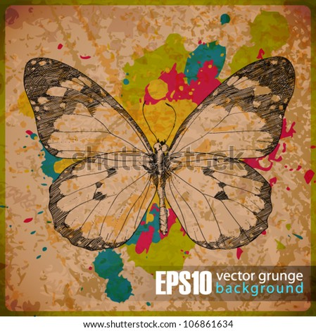 EPS10 vintage background with butterfly - stock vector