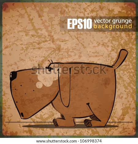 EPS10 vintage background with cartoon doggy - stock vector