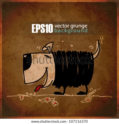 EPS10 vintage background with funny doggy - stock vector