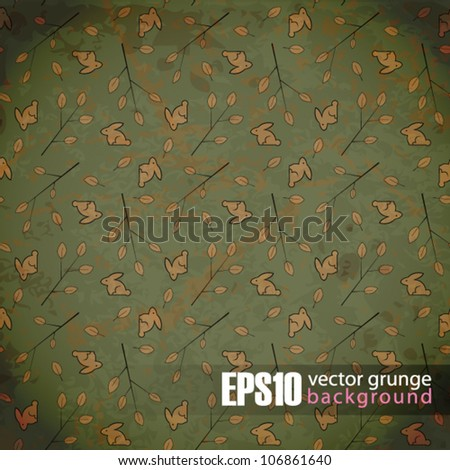 EPS10 vintage background with leafs and rabbits - stock vector